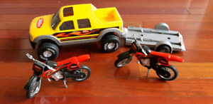 Tonka truck and motorcycles