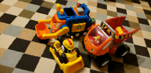 WOW toys: garbage truck & dump truck + CAT digger