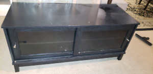 Black TV entertainment unit shelves