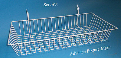 Multipurpose White Wire Basket For Slatwall Slatgrid 3in Wire Grid Or Pegboard