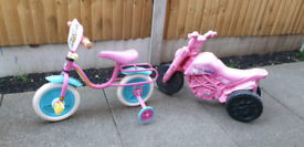 Small child's bicycle and push motor bike