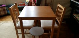 Kitchen Table with 2 chairs and 2 stools
