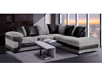 BRAND NEW DINO LARGE CORNER SOFA BLACK & GREY JUMBO CORD FABRIC AND FAUX LEATHER WITH FOOTSTOOL