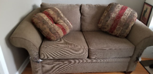 Love Seat with Throw Pillows