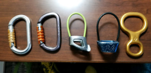 Auto-locking Carabiners & Belay device ATC Descender & Slings