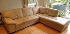 L-Shaped 6-Seater Cream Leather Sofa