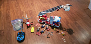 Playmobil Fire Engine & Helicopter