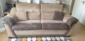 3 seater sofa, swivel chair & 2 footstools