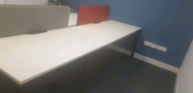 White executive bench desking workstations
