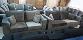 Top quality Velvet Grey 3&2 seater Sofa Set New free local delivery