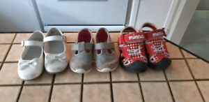 3 pairs of girl toddler shoes