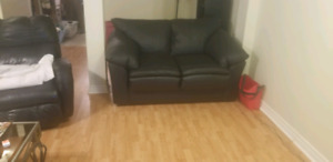 3 piece black leather couch set