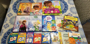 Lot de livres Disney + boites de cartes d'apprentissage