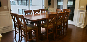 Ashley furniture 10 chair pub height dining room set
