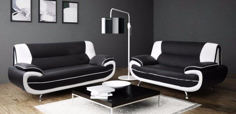 *80% DISCOUNT ** NATION WIDE DELIVERY OPTION AVAILABLE** 3 AND 2 SEATER SOFA IN BLACK AND RED WHITE
