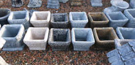 Concrete garden flower pots and planters