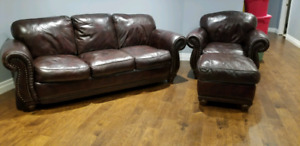 MOVING SALE!!  Dark Brown Leather couch & chair & ottoman set