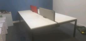 Executive White bench desking workstations