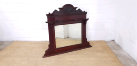 Large Antique Mahogany Over Mantle Mirror