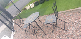 Tiled top steel garden bristo sets table and chairs furniture