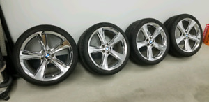 """BMW 21 """" Star Chrome Mags and Tires"""