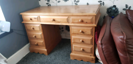 Solid pine desk with drawers