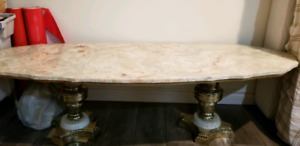 Marble top brass legs end table