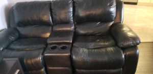 Black leather recliner sofa loveseat