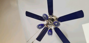 ventilateur de plafond, luminaire, blue ceilling fan