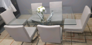Chrome base dining set (table+6 chairs)