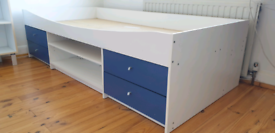 Malibu cabin single bed with drawers, blue