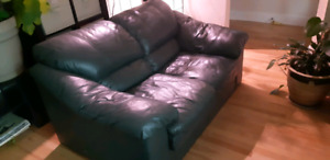 Green leather 2 seater couch