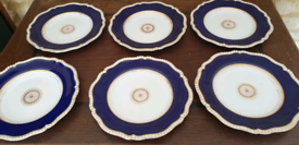 Copelands China dinner plates, rich blue and gold 25cm, set of six