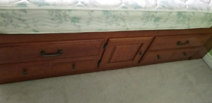 Wooden single bed, mattress included