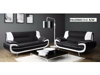 black and white palermo sofa 3plus2 with many more sofas on offer just call to get a delivery