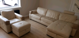 Chaise 4 seater suite / sofa + chair & footstool
