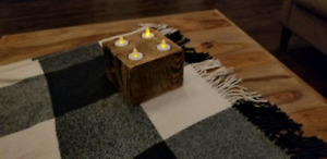 Reclaimed wood burnt and oiled 4 tealight holder