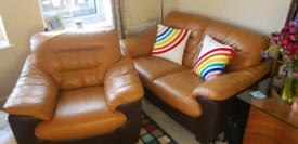 DFS 2 piece brown leather sofa set