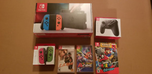 Nintendo Switch Red Blue Joycons BUNDLE - ALL BRAND NEW - TOUT N
