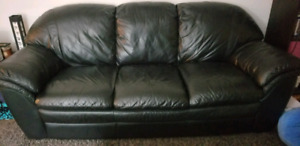 3Seater Black Leather Couch