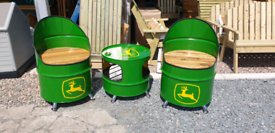 Oil drum clocks and chairs seats john deere massey harley Ford Shell