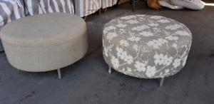 2 fabric ottomans/footstools