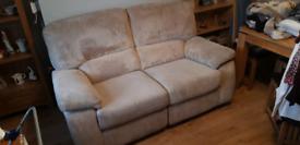 2 x 2 seater cream corduroy sofa