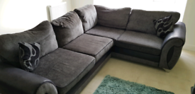 Corner couch, swivel cuddle chair and footstool