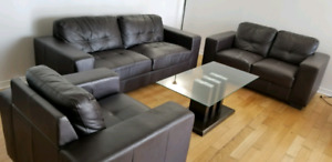 Brown Leather Sofa set and a coffee table