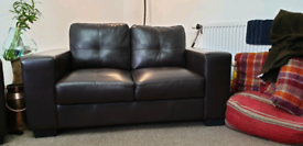 Real leather 3 + 2 seater sofa
