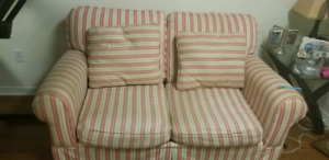 Striped love seat and chair