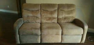 Beige swede couch, 2 recliners, great condition!