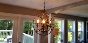 Metal Cage globe pendant chandelier - coffee finish