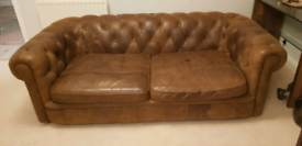 Chesterfield sofa, brown leather, furniture village ONO